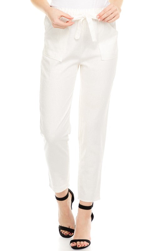 Linen Paper Bag Waist Pants - Online Clothing Boutique