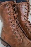 Barcelona-4 Faux Leather Combat Boots - Online Clothing Boutique