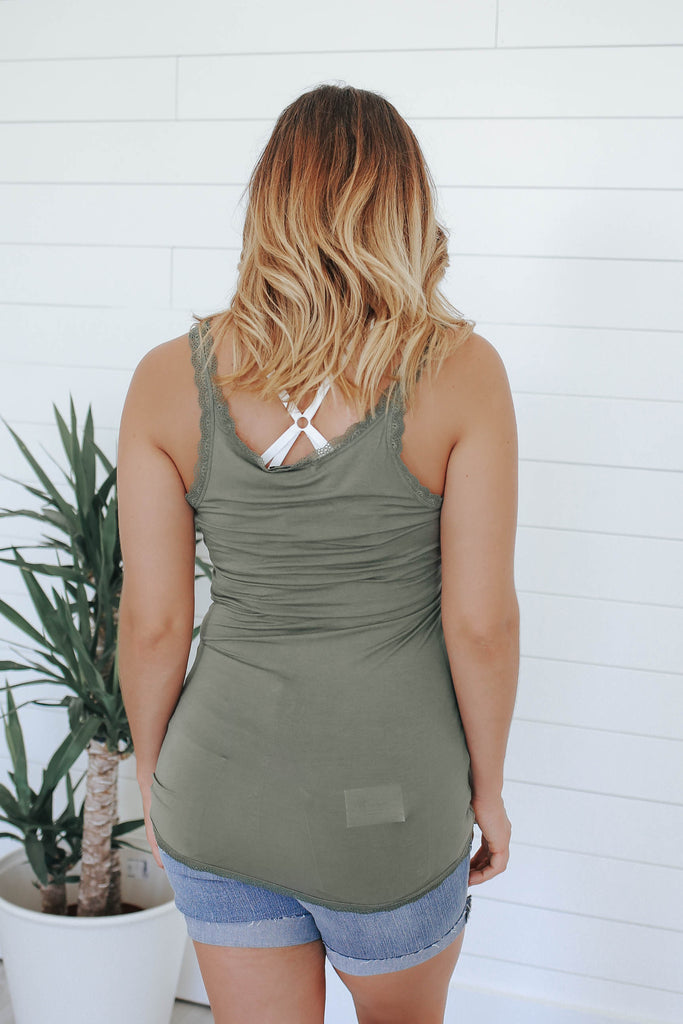 Lace Trim Tank Top - Online Clothing Boutique
