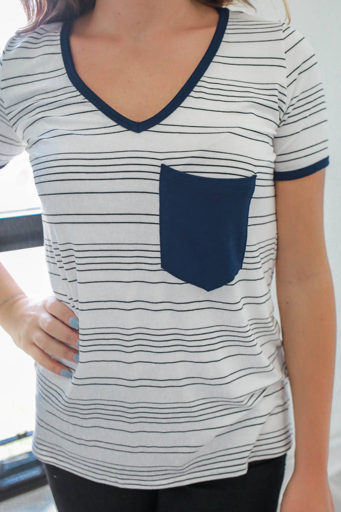 Striped V-Neck Tee - Online Clothing Boutique
