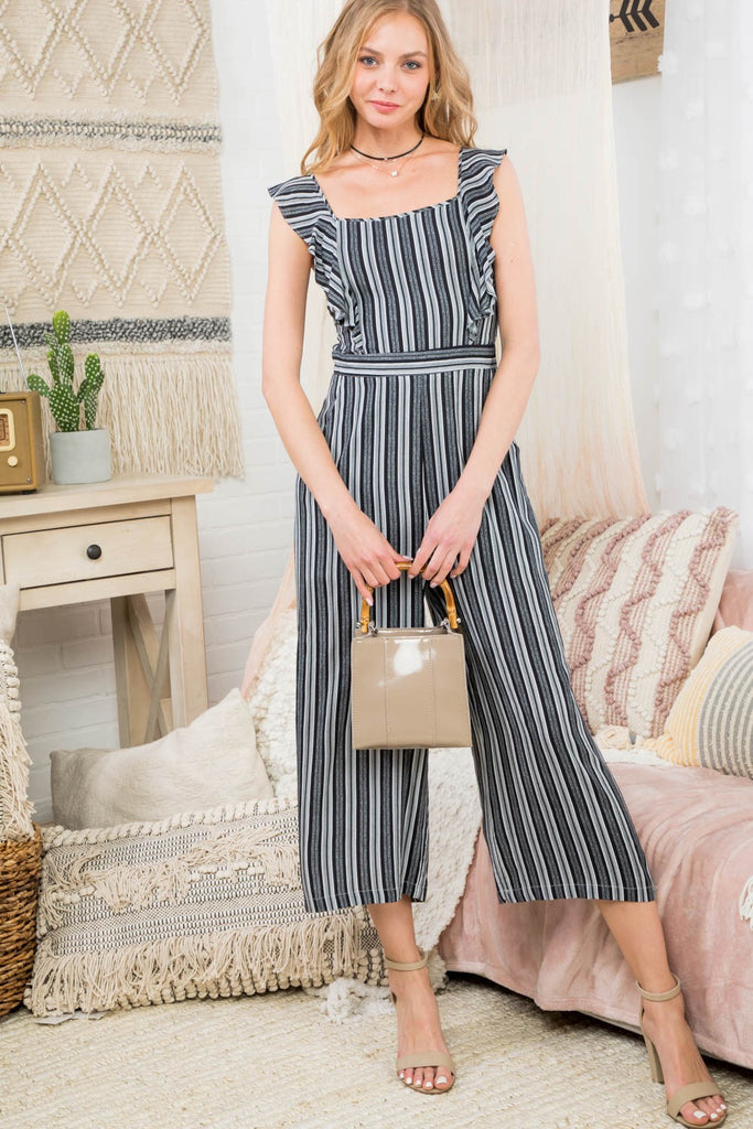 Striped Cropped Jumpsuit | Stylish & Affordable | UOI Online
