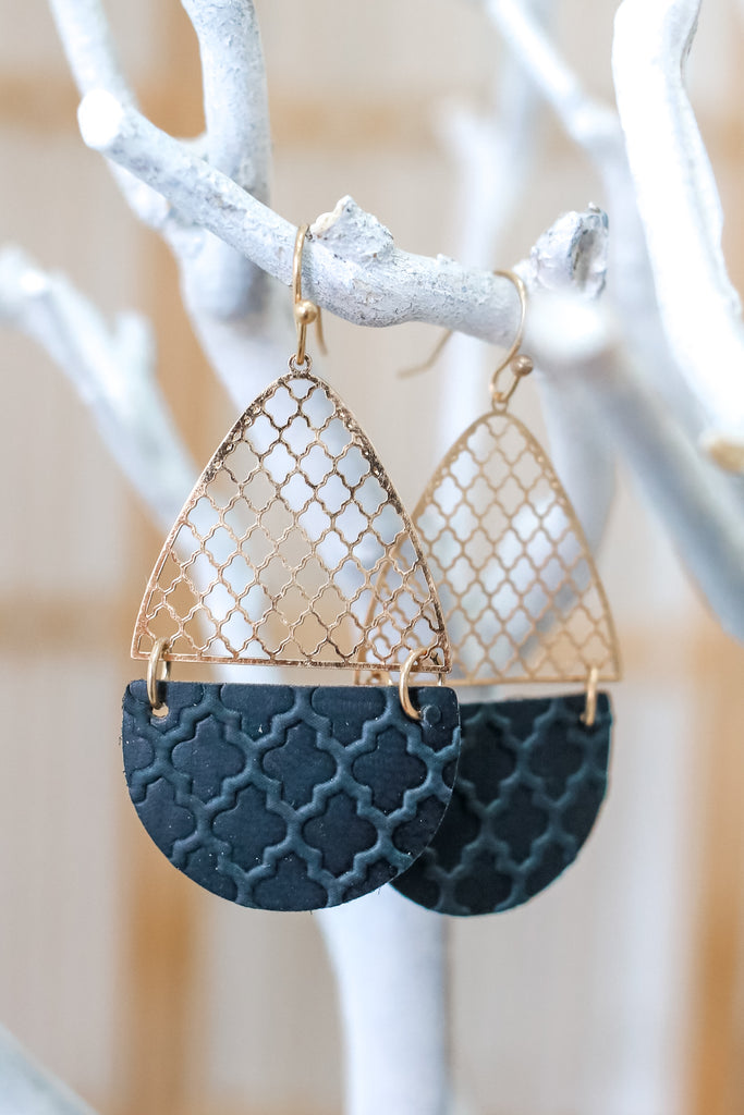 Tear Drop Faux Leather Earrings | Stylish & Affordable | UOI Online