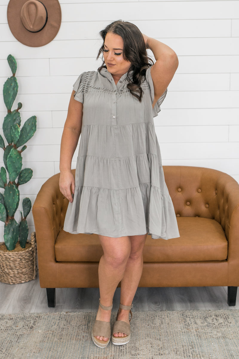 High Neck Tiered Dress | Stylish & Affordable | UOI Online