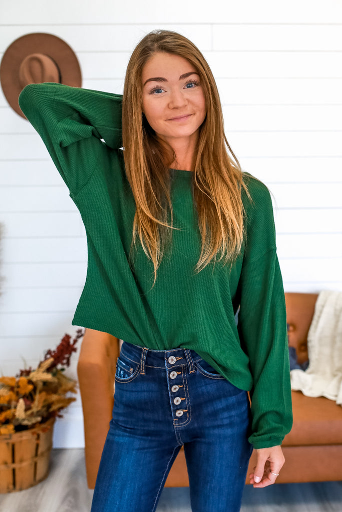 Balloon Sleeve Waffle Knit Crop Top | Stylish & Affordable | UOI Online