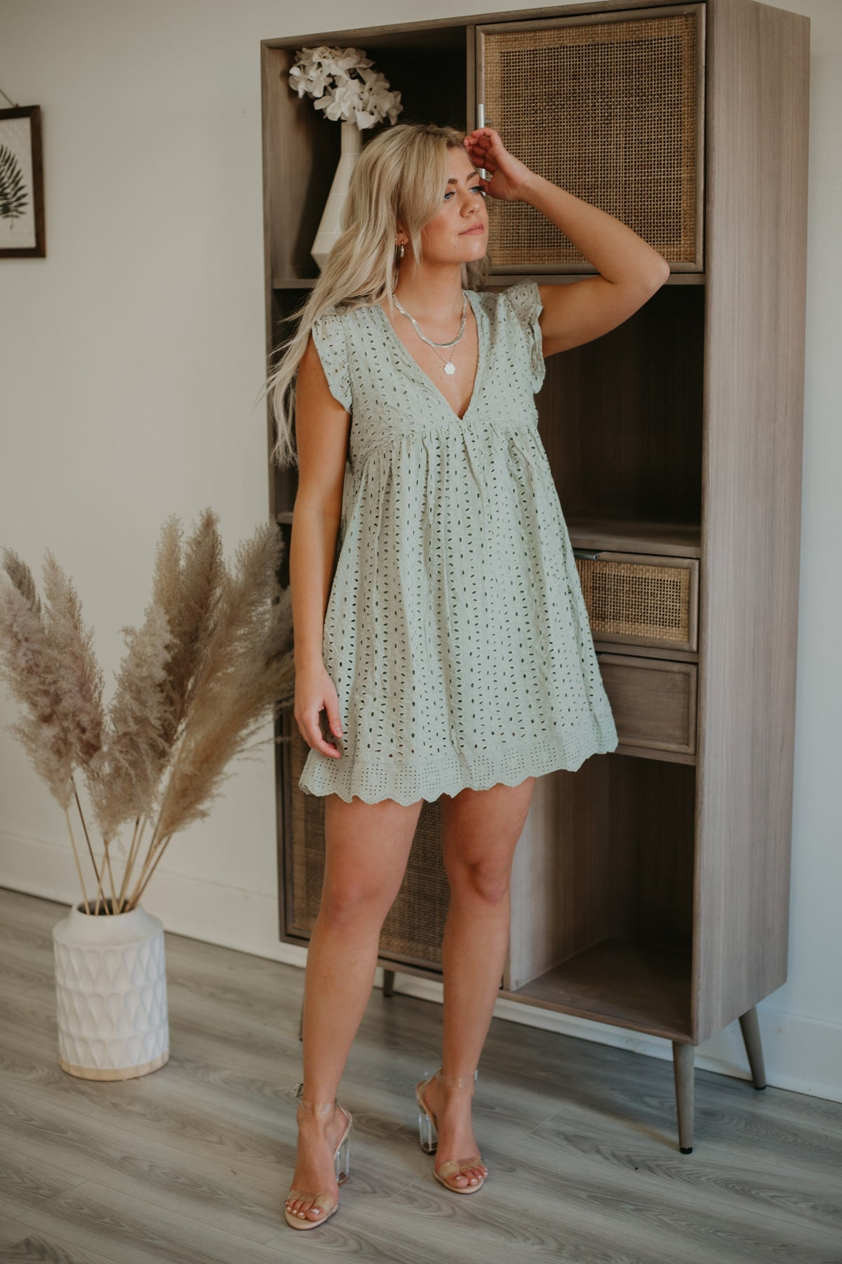 sage green casual dress