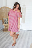 Cold Shoulder Striped Dress - Online Clothing Boutique