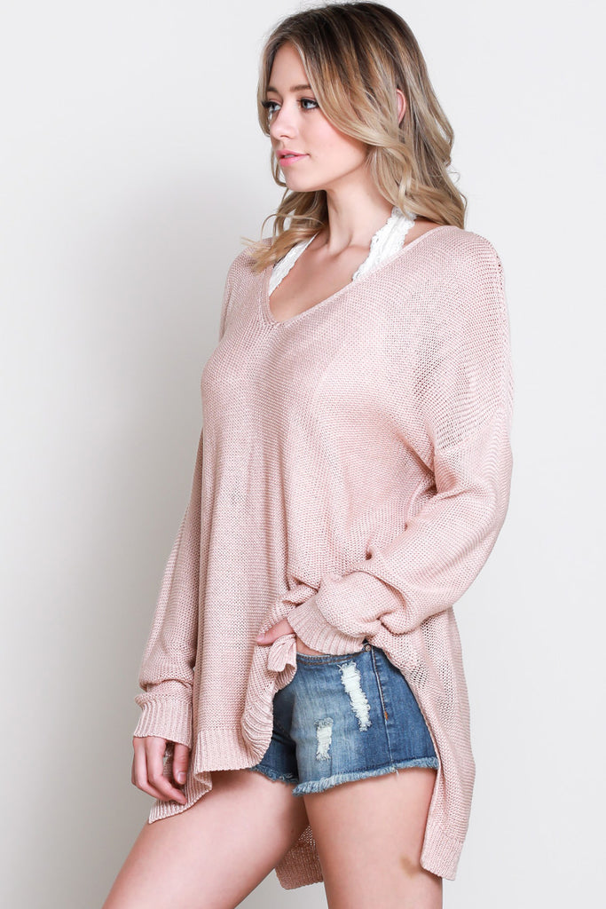 Long Sleeve V-Neck Knit Sweater - Online Clothing Boutique