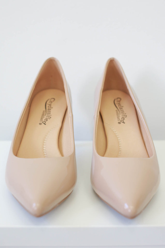 Faux Patent Leather Heels - Online Clothing Boutique
