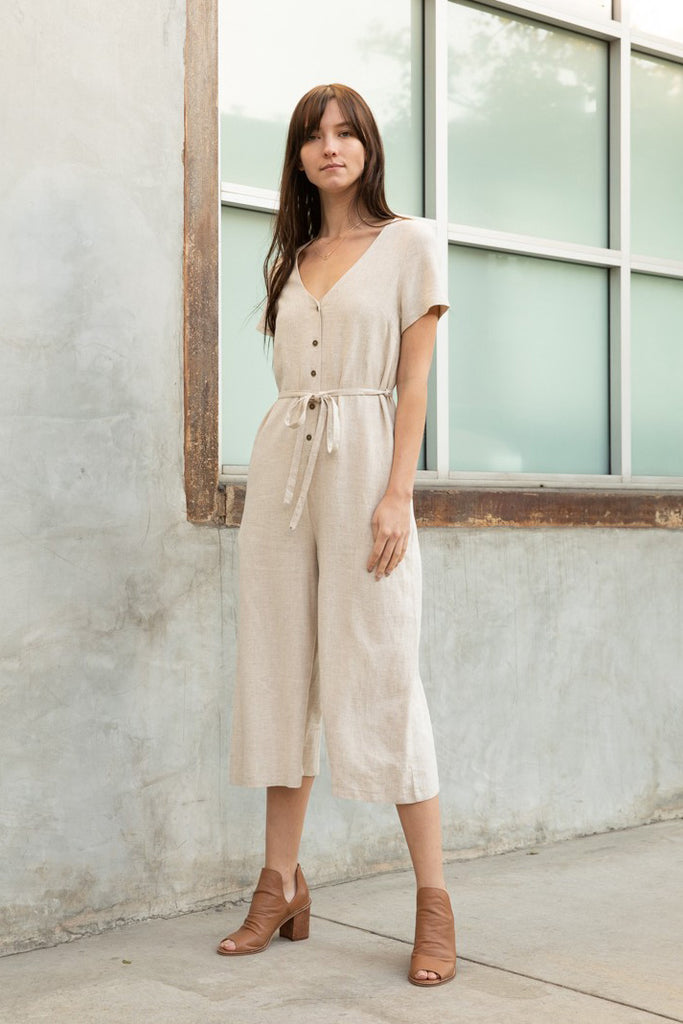 Linen Cropped Jumpsuit - Online Clothing Boutique