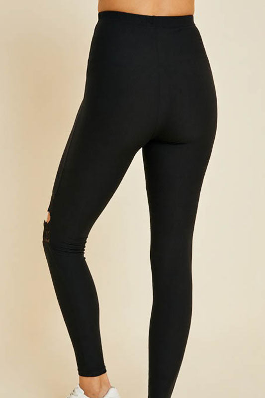 Lace Knee Cutout Leggings - Online Clothing Boutique