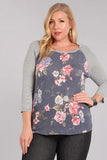 Plus Size Floral Baseball Top - Online Clothing Boutique