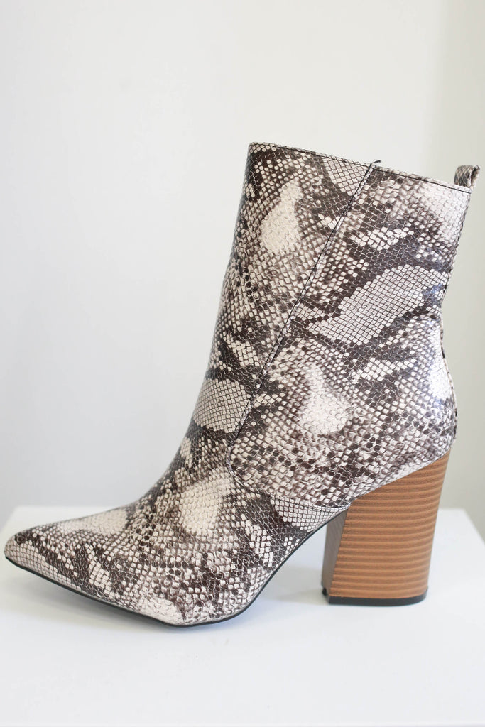 Animal Print Booties - Online Clothing Boutique