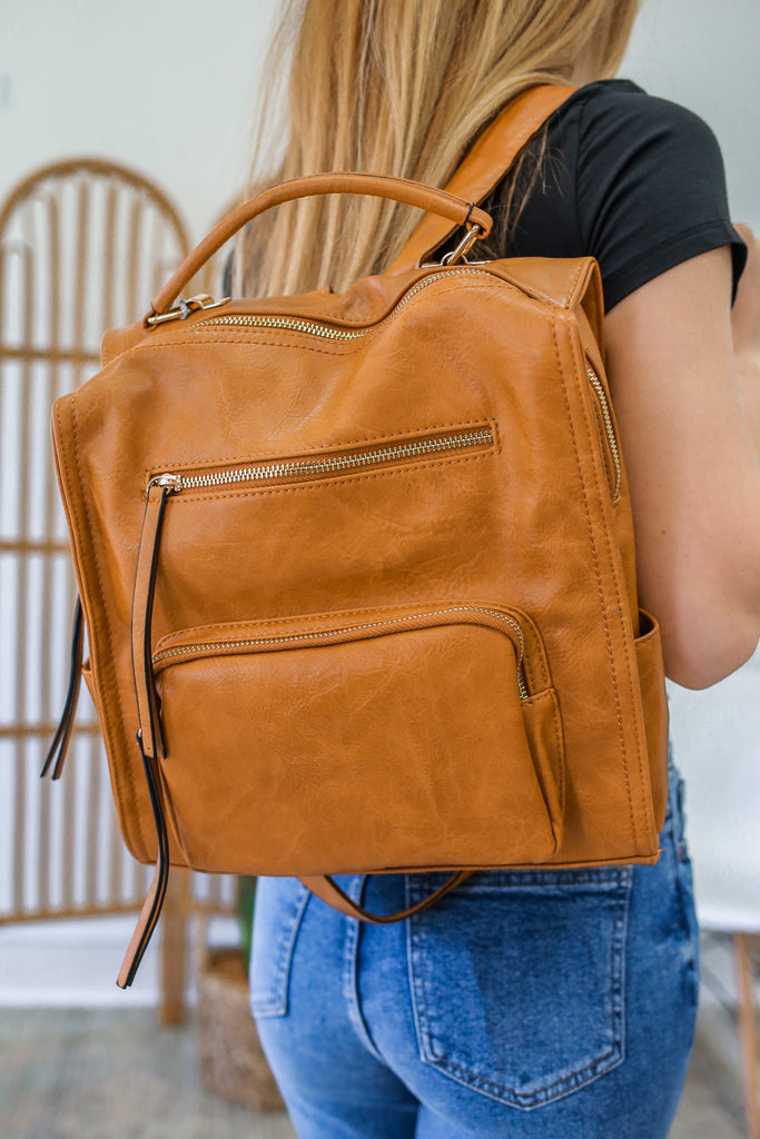 Faux Leather Backpack - Online Clothing Boutique