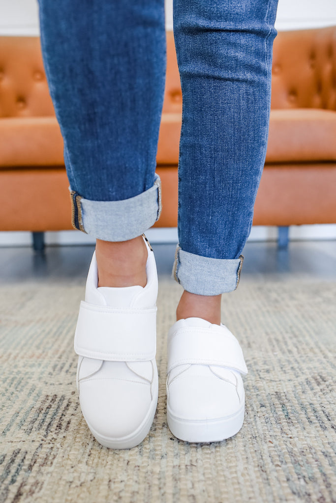 Faux Leather Velcro Platform Sneakers | Stylish & Affordable | UOI Online