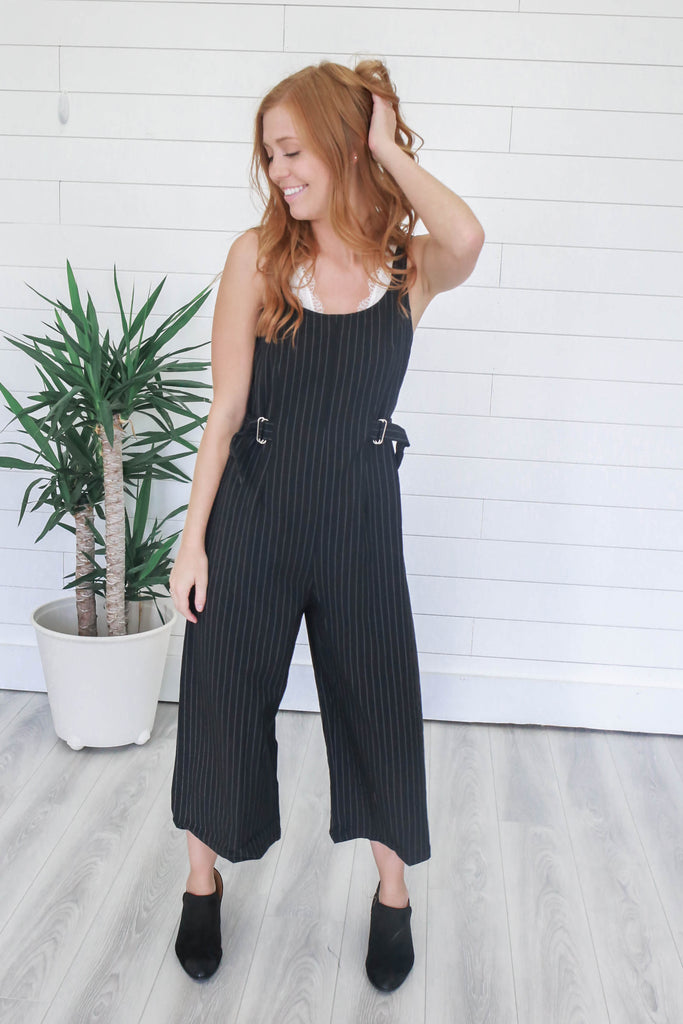 Pinstripe Cropped Jumpsuit - Online Clothing Boutique