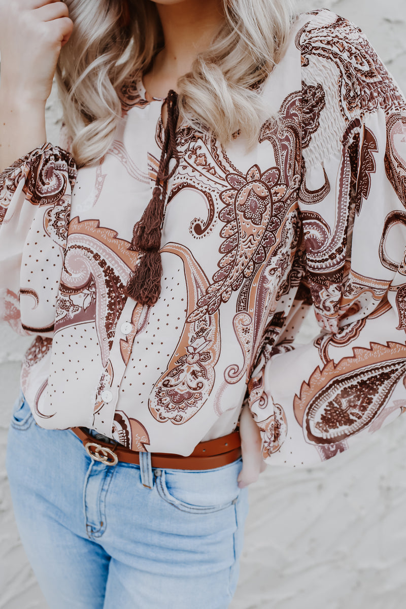Long Balloon Sleeve Paisley Chiffon Top | Stylish & Affordable | UOI Online