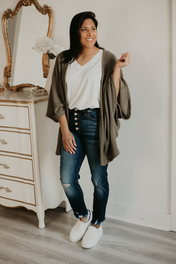 3/4 Dolman Sleeve Waffle Knit Cardigan | Stylish & Affordable | UOI Online