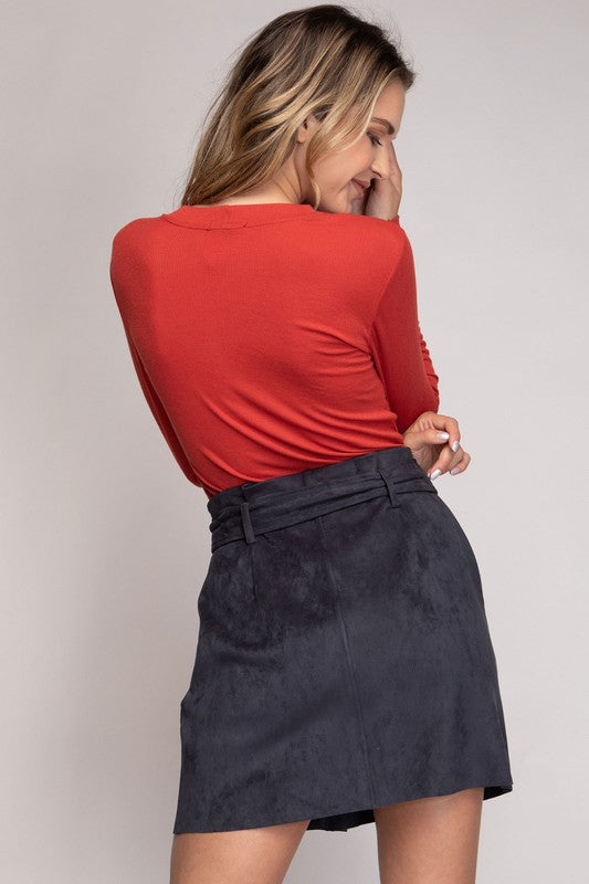 Faux Suede Mini Skirt | Stylish & Affordable | UOI Online