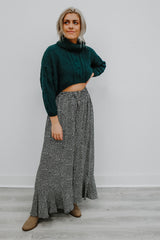 Cropped Turtle Neck Cable Knit Sweater | Stylish & Affordable | UOI Online