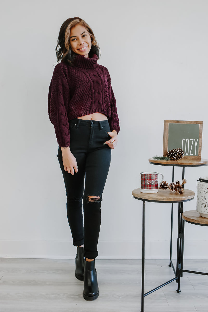 Cable Knit Turtle Neck Cropped Sweater | Stylish & Affordable | UOI Online