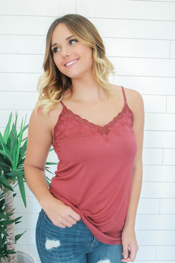 Embroidered Tank Top - Online Clothing Boutique