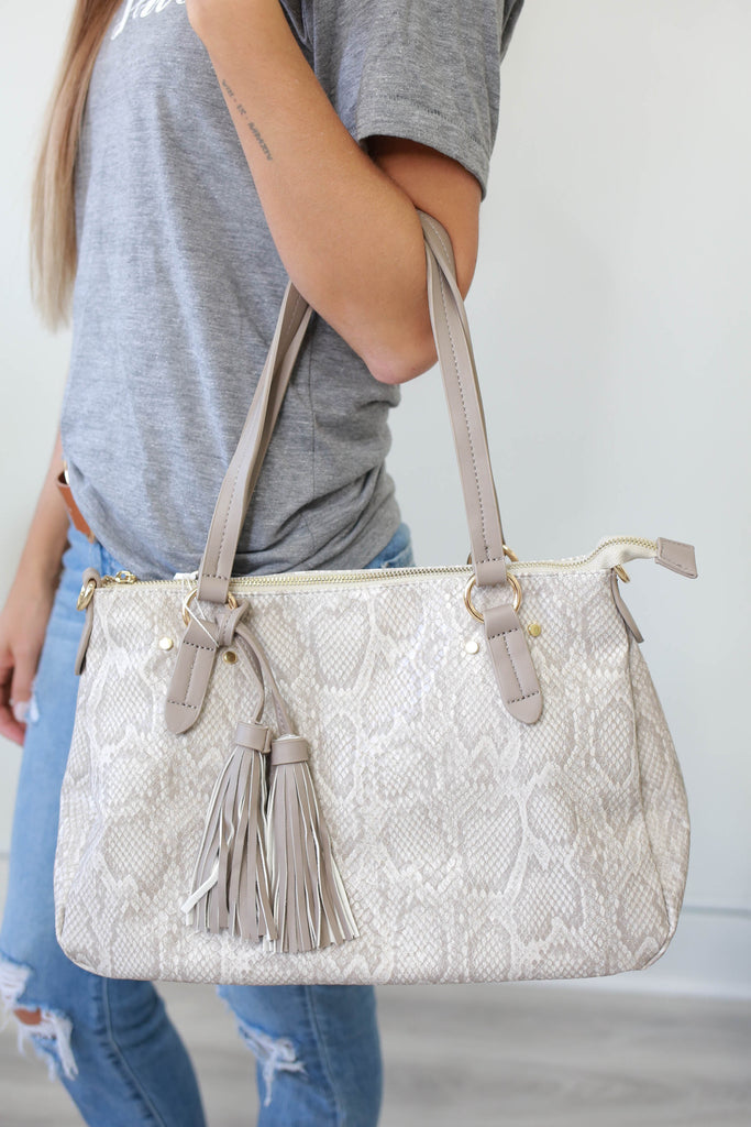 Faux Leather Snakeskin Bag - Online Clothing Boutique