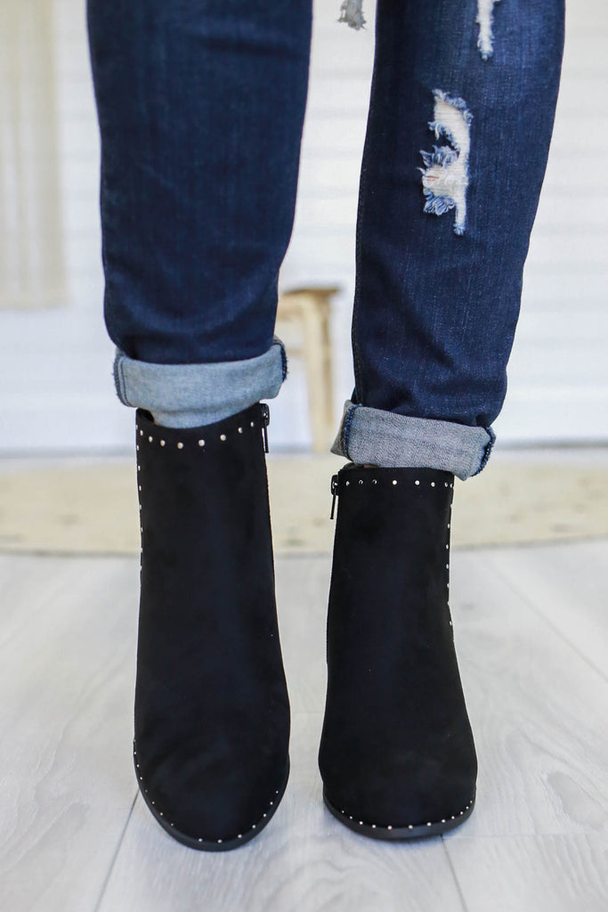 UPLAND Faux Suede Studded Booties - Online Clothing Boutique