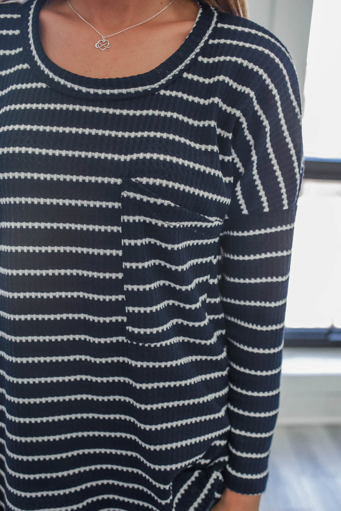 Striped Knit Top - Online Clothing Boutique