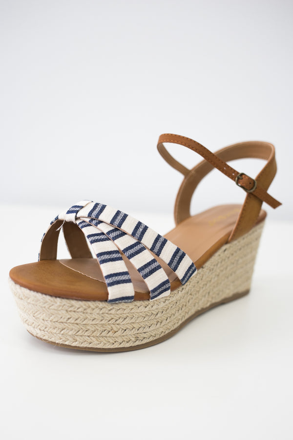 Women Shoes Online | MOTION-05 Striped Espadrille Wedges