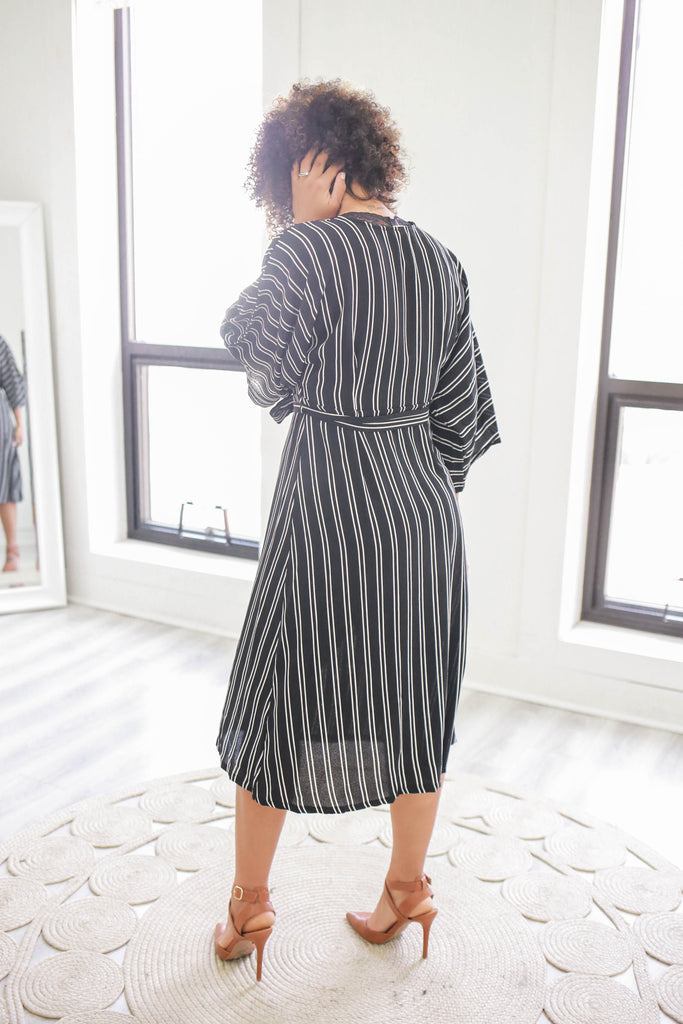 Striped Button Up Midi Dress - Online Clothing Boutique