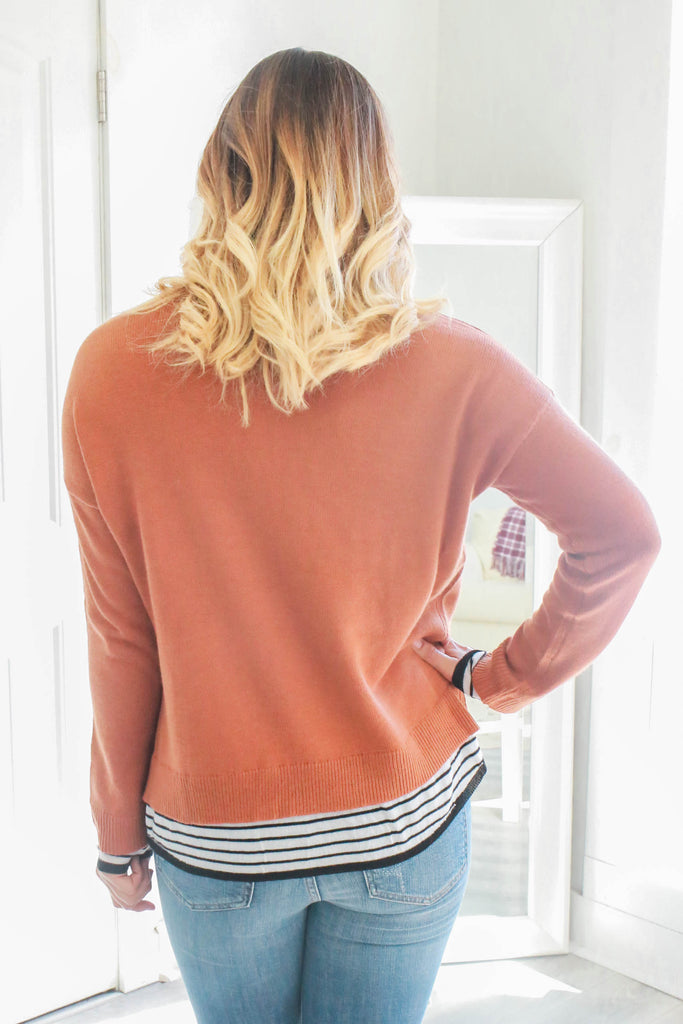 Striped Inset Sweater - Online Clothing Boutique