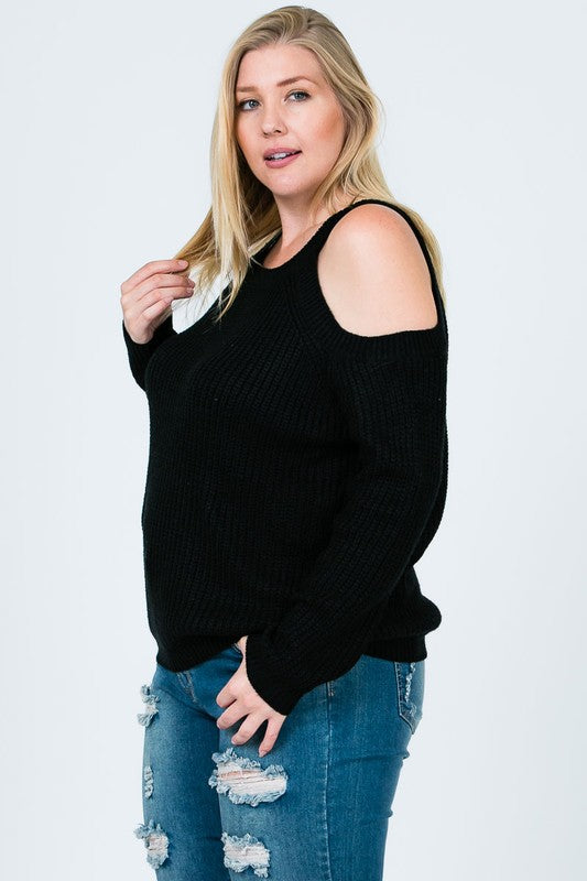 Plus Size Cold Shoulder Sweater - Online Clothing Boutique