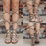 Taupe Faux Suede Lace Up Gladiator Sandal Rita-72S
