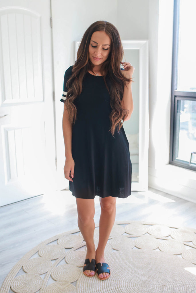 Ringer Sleeve T-Shirt Dress - Online Clothing Boutique