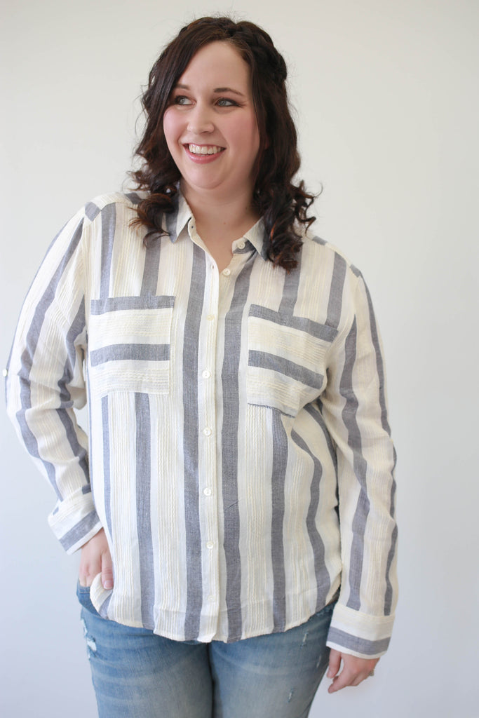 Plus Size Striped Button Up Top - Online Clothing Boutique