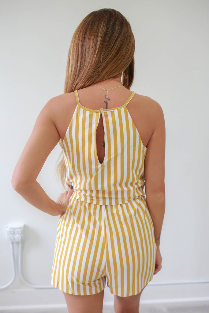 High Neck Striped Romper - Online Clothing Boutique