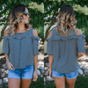 Striped Cold Shoulder Ruffle Accent Top