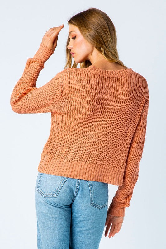 Twist Front Cropped Sweater | Stylish & Affordable | UOI Online
