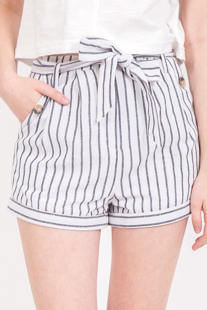 High Waisted Striped Shorts - Online Clothing Boutique