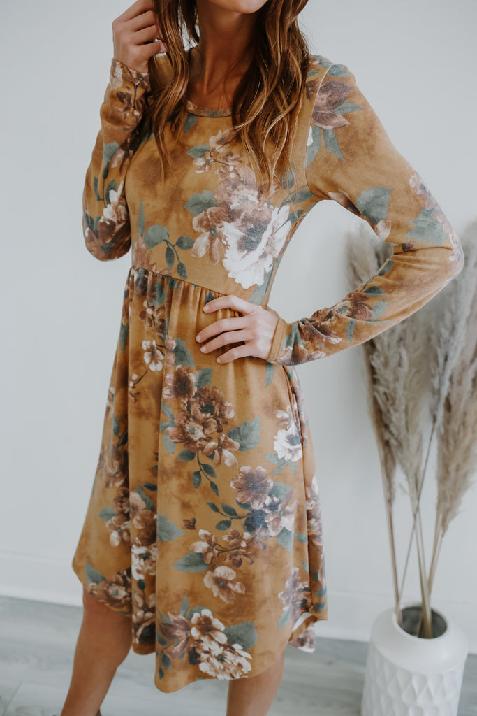 Long Sleeve Floral Print Babydoll Dress | Stylish & Affordable | UOI Online