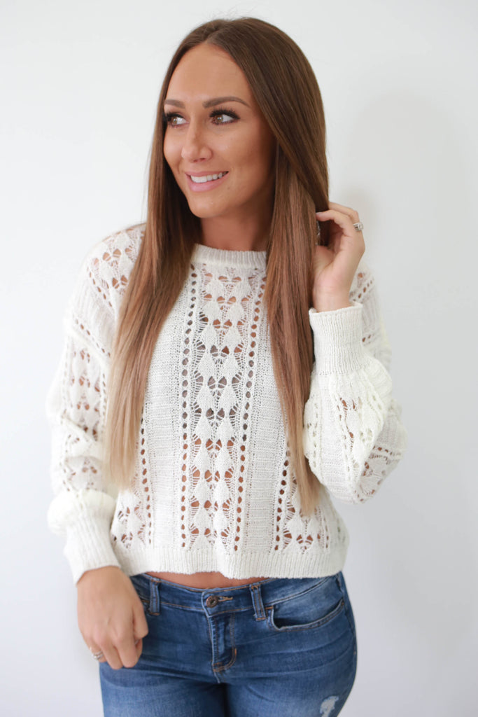 Cropped Crochet Knit Sweater - Online Clothing Boutique