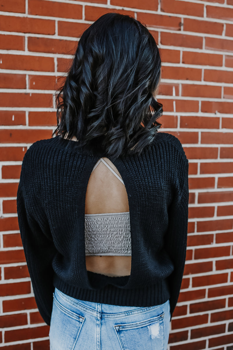 Long Balloon Sleeve Open Back Knit Sweater | Stylish & Affordable | UOI Online