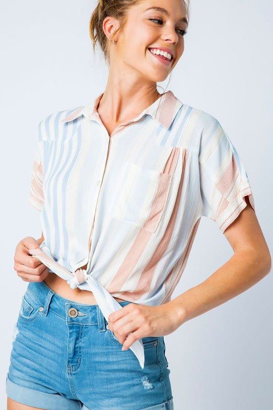 Striped Self Tie Top - Online Clothing Boutique