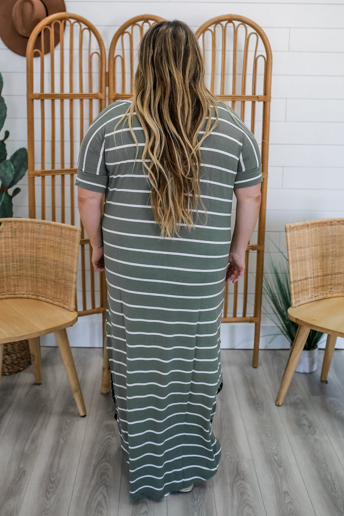 Striped Plus Maxi Dress | Stylish & Affordable | UOI Online