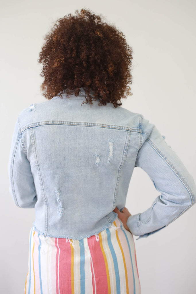 Cropped Denim Jacket - Online Clothing Boutique