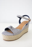 Women Shoes Online | OLSON-09 Striped Espadrille Wedges