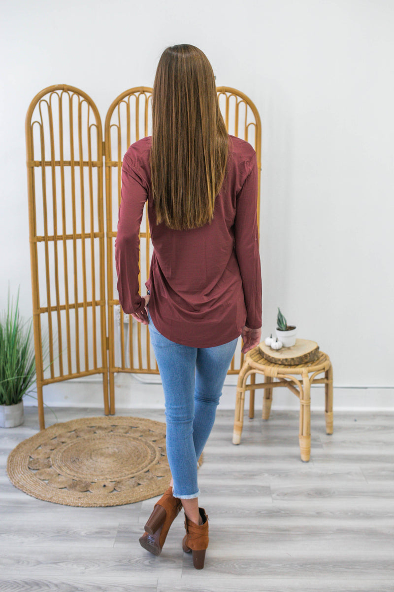 Basic Long Sleeve V-Neck - Online Clothing Boutique