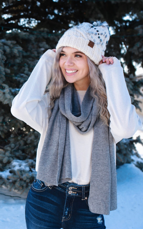 Ribbed Knit CC Scarf | Stylish & Affordable | UOI Online