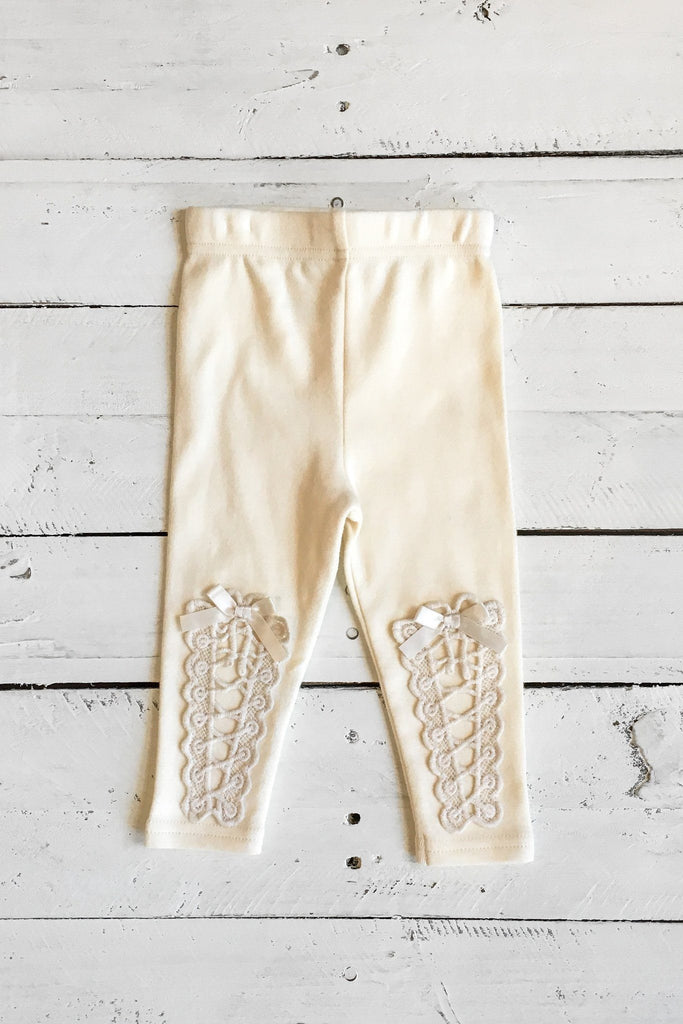 Ivory Crochet And Satin Bow Accent Leggings