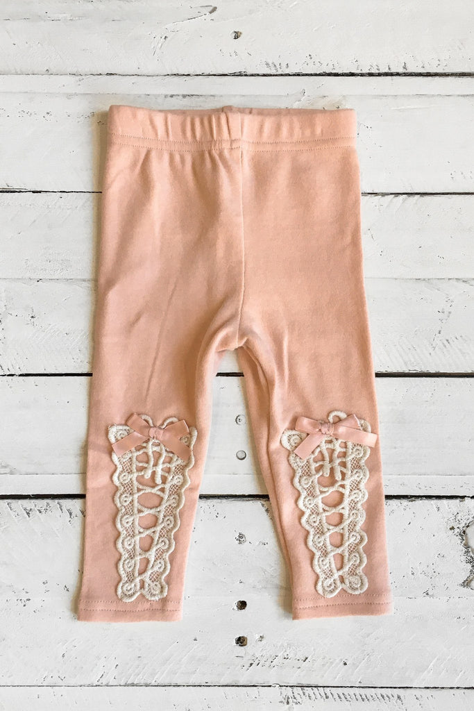 Dusty Pink Crochet And Satin Bow Accent Leggings